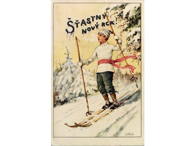 Pohlednice Štastný nový rok lyžař