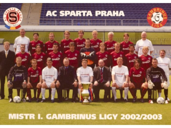Kartička AC SPARTA PRAHA mistr ligy 2002 2003