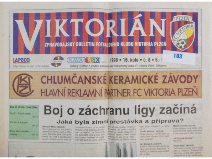 Noviny Viktorián, bulletin fotbalového klubu Plzeň, 1998