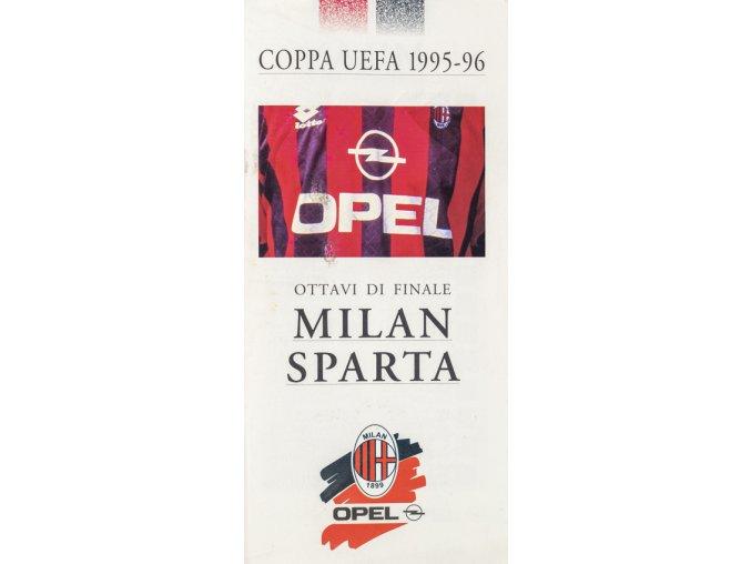 Program leták, Coppa UEFA, Milan v. Sparta, 1995 96 (2)