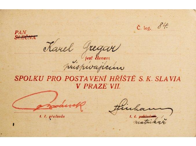 Legitimace přispívajícího člen S.K. Slavia, spolek pro postavení hříště v Praze VII, (1)
