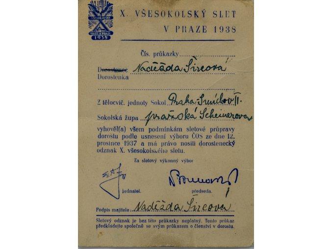 Průkazka všesokolský slet v Praze 1938