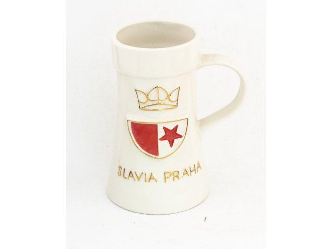 Korbel keramický SLAVIA PRAHA v barvě bílé (3)