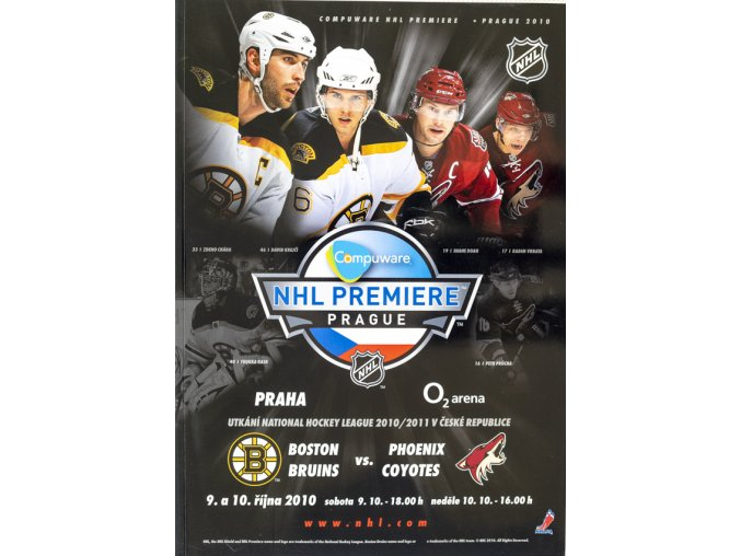 Official Program NHL Prague Premiere, Boston Bruins v. Phoenix Coyotes, 2010 1