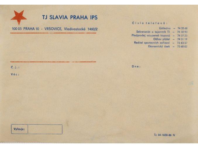 Hlavičkový papír TJ Slavia Praha IPS, malý
