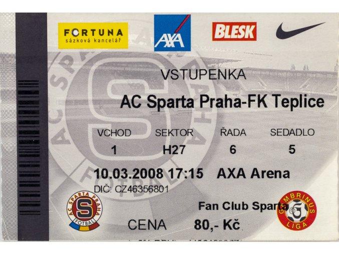 Vstupenka fotbal , Sparta Praha v. FK Teplice, 2008