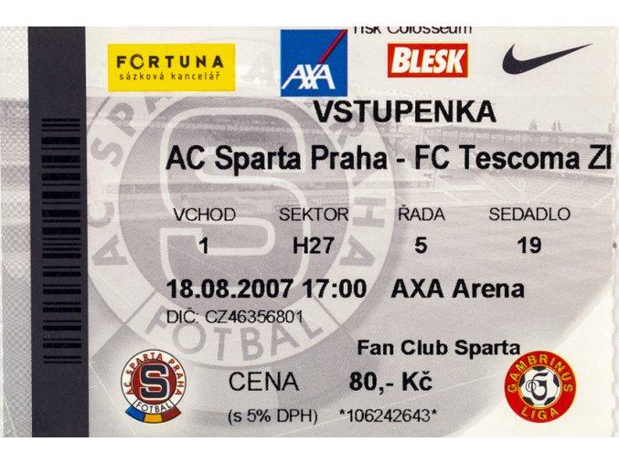 Vstupenka fotbal , Sparta Praha v. TC Zlín, 2007