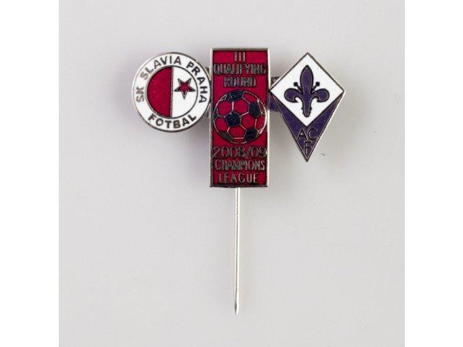 Odznak UEFA Champions League 2008 2009 ACF vs. SK SLAVIA PRAHA red