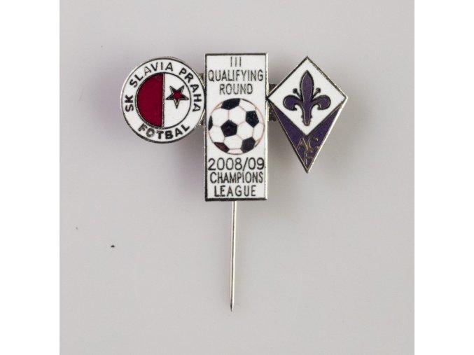 Odznak UEFA Champions League 2008 2009 ACF vs. SK SLAVIA PRAHA white