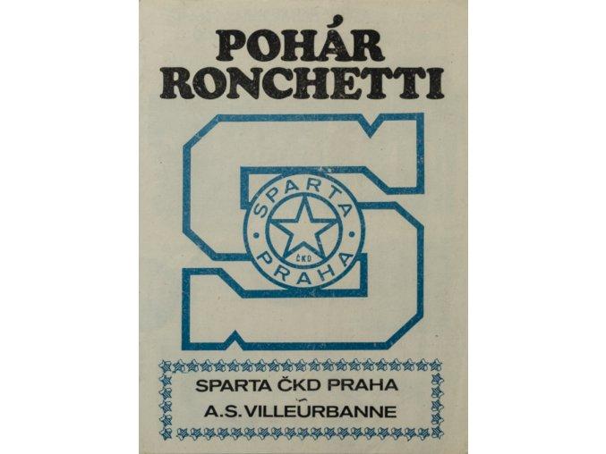 Program basket, pohár Ronchetti, Sparta Praha v. A.S. Villaeurbanne, 1984