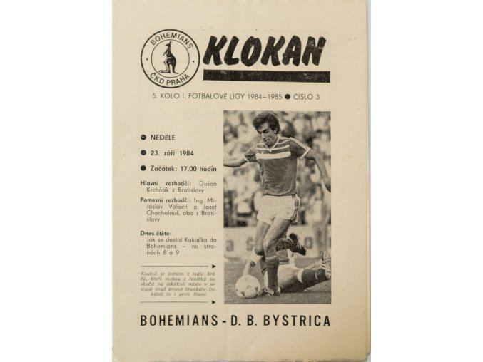 Program Klokan, Bohemians vs. D.B. Bystrica, 19841985