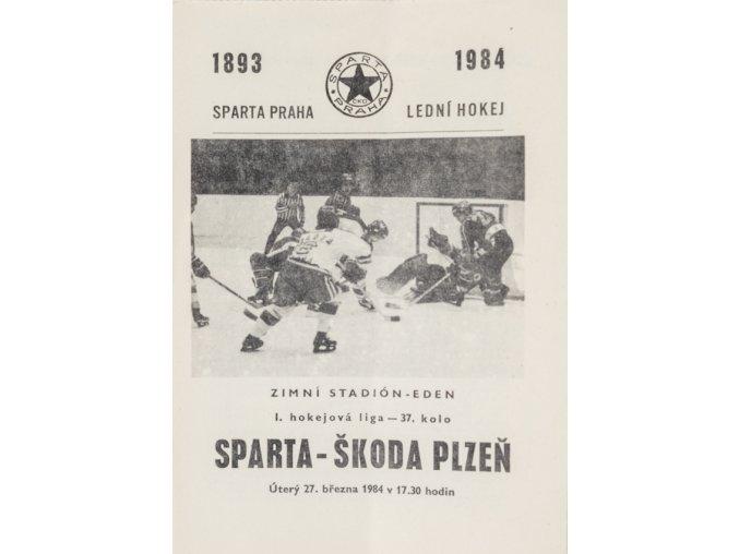 Program hokej, Sparta v. Škoda Plzeň, 1984