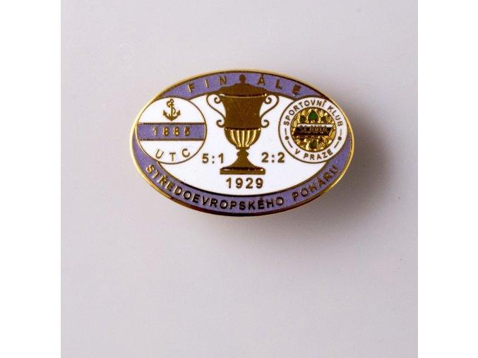 Odznak smalt 1929 UTC vs. Slavia finále středoevropského poháru