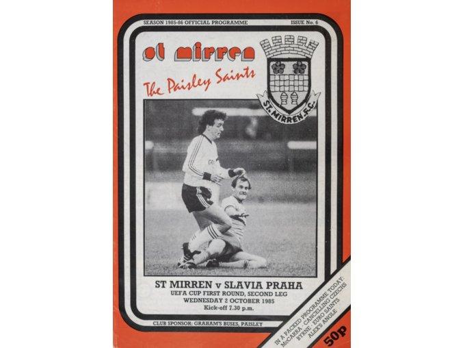 Program UEFA, St. Mirren v. Slavia Praha, 1985 (1)
