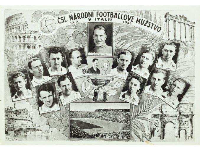 Foto týmu ČSL národní fotbalové mužstvo v Itálii, 1934