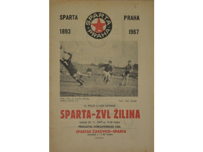 Program fotbal, SPARTA ZVL Žilina, 1967ii