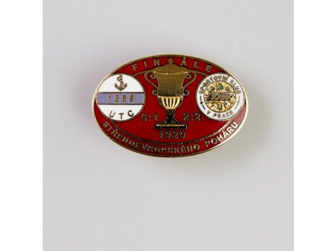 Odznak smalt 1929 UTC vs. Slavia finále středoevropského poháru RED