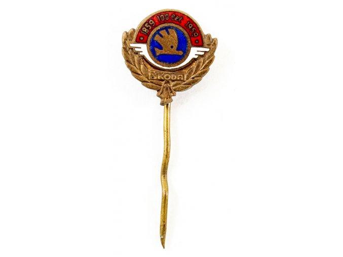 Odznak smalt Škoda, 100 let, 1859 1959