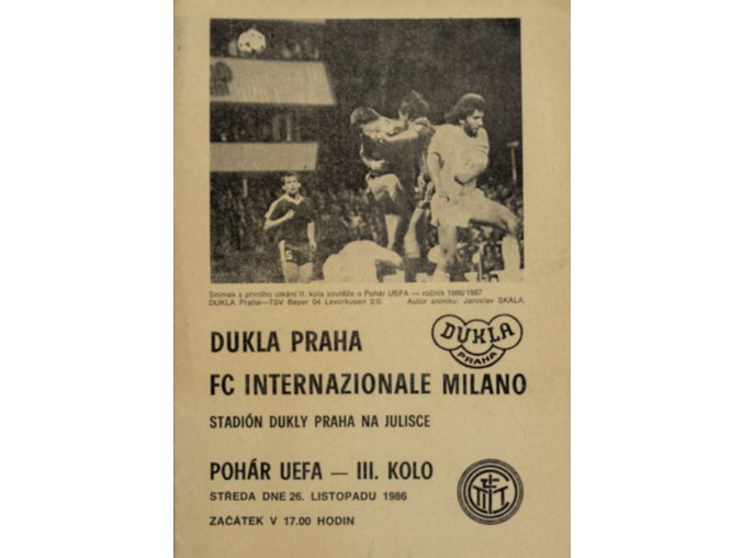 Program Dukla v. FC Internazionale Milano, 1986