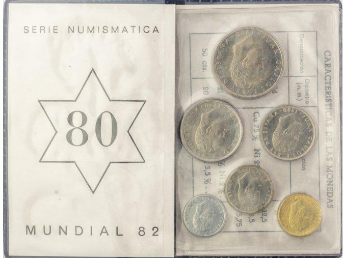 Sada oběžných mincí PESETAS, Espaňa, Mundial fotbal, 1982 (2)