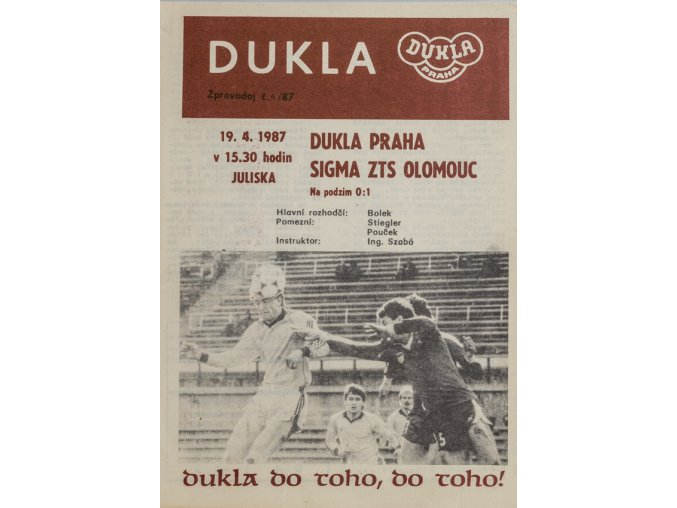 Program Dukla Praha v.Sigma ZTS Olomouc, 1987