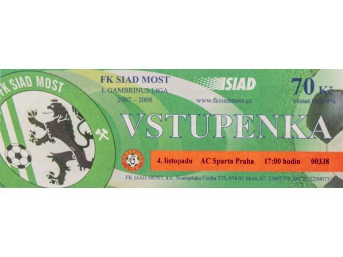 Vstupenka fotbal , Sparta Praha v. FI Siad Most, 2007