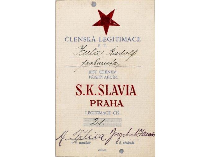 Členská legitimace P.T. klubu S.K.SLAVIA PRAHA z roku 1931