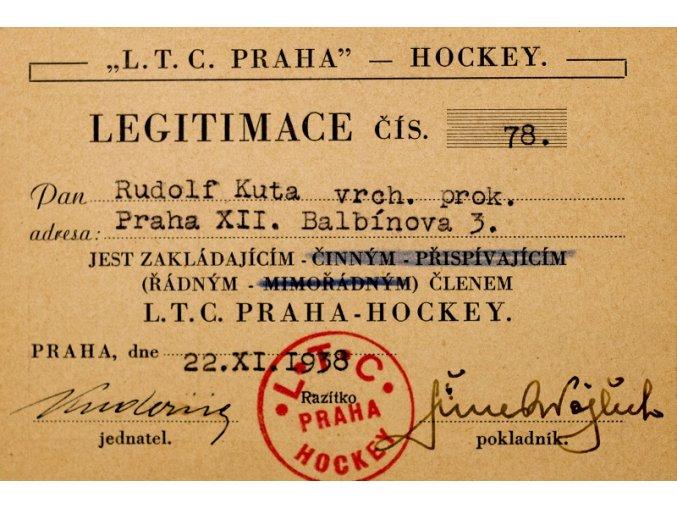 Legitimace hockey klubu L.T.C. PRAHA z roku 1938