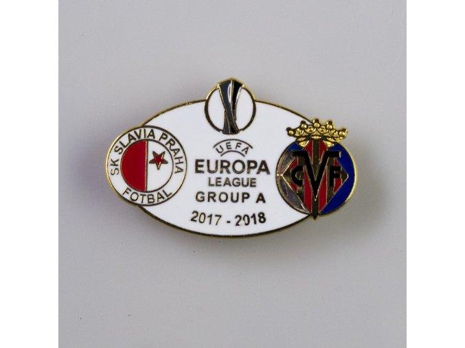 Odznak smalt Europa league 2017 2018 Group A SLAVIA vs. VILLARREAL WHT