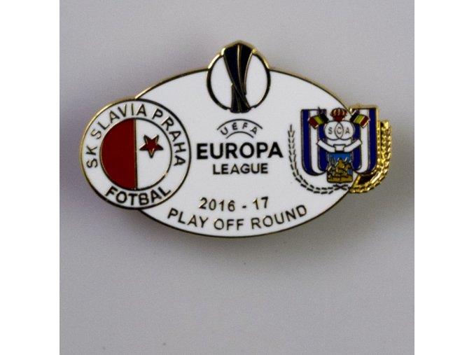 Odznak smalt Europa league 2016 2017 Play off SLAVIA vs. Anderlecht WHT