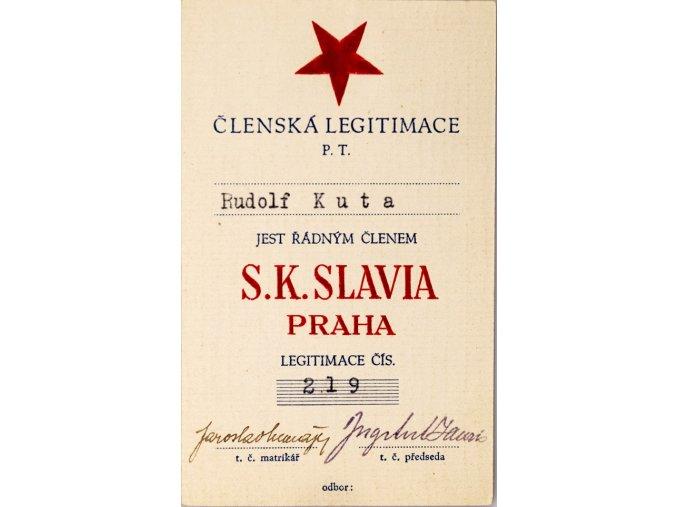 Členská legitimace P.T. klubu S.K.SLAVIA PRAHA z roku 1939
