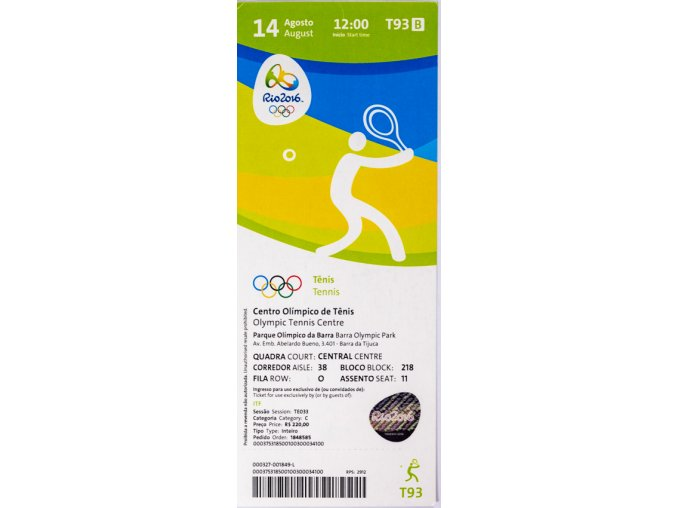 Vstupenka OG Rio 2016, Tennis