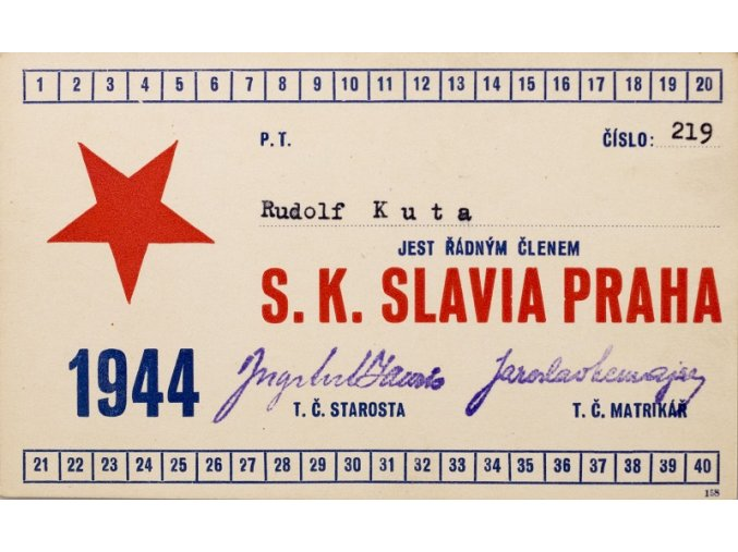 Legitimace P.T. klubu S.K.SLAVIA PRAHA z roku 1944