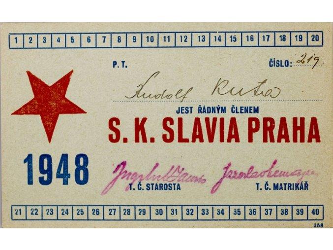 Legitimace P.T. klubu S.K.SLAVIA PRAHA z roku 1948