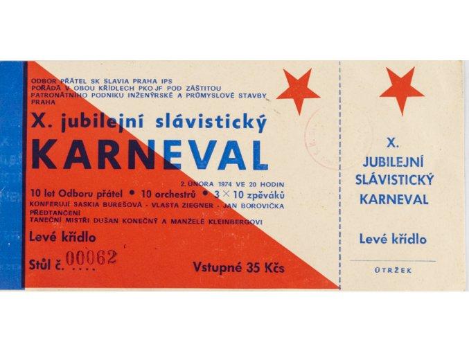 Pozvánka OP Slavia X. slávistický karneval, 1974