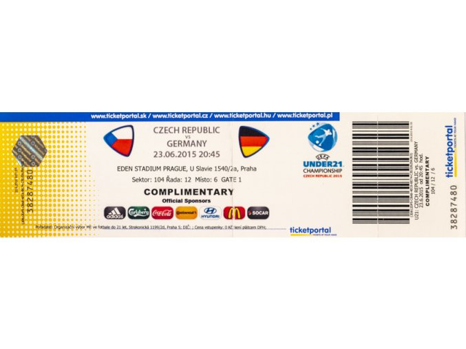 Vstupenka fotbal , UNDER21, Czech Rep. v. Germany 2015