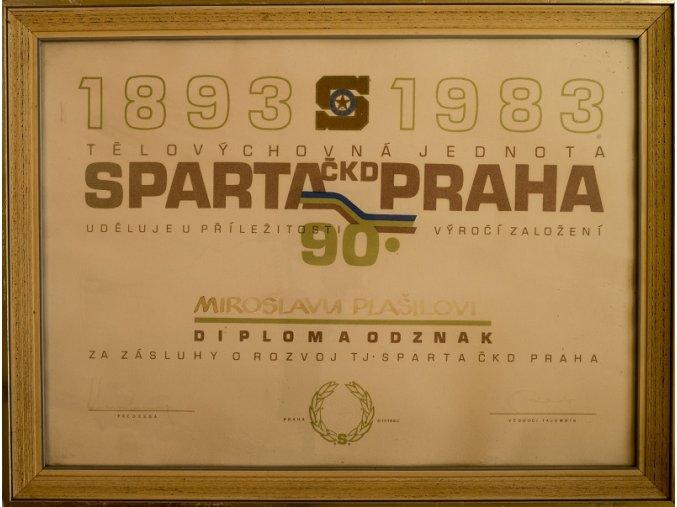 DIPLOM SPARTA PRAHA k 90. výročí v rámu