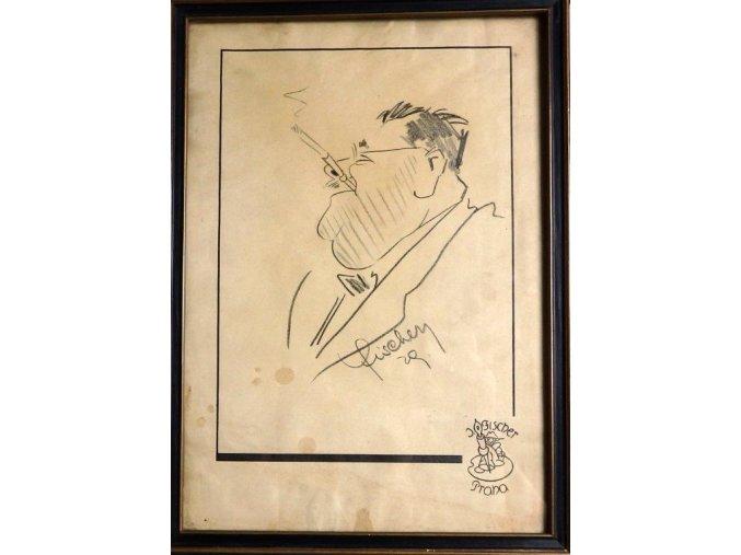 Karikatura Bukolského - kresba tužkou J .Fišer 1929