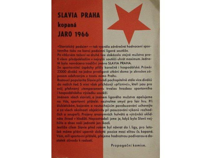 Slavia Praha  kopaná JARO 1966