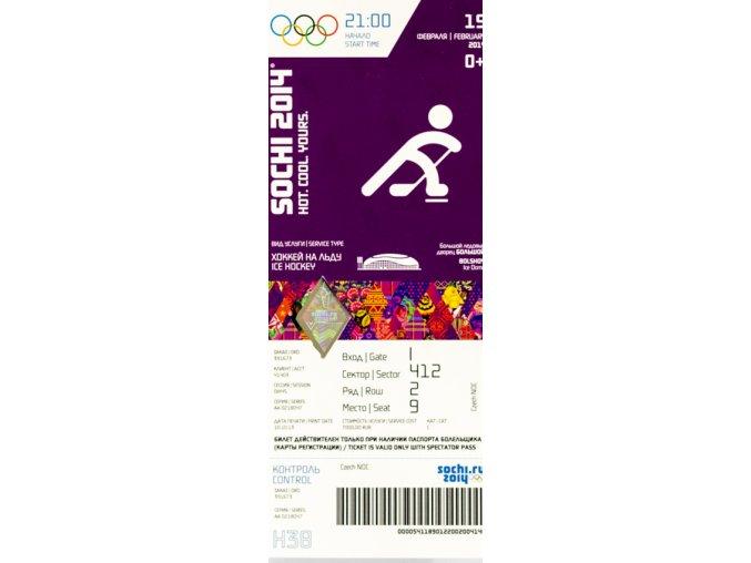 Vstupenka OG Sochi, 2014, Ice Hockey, 19 II
