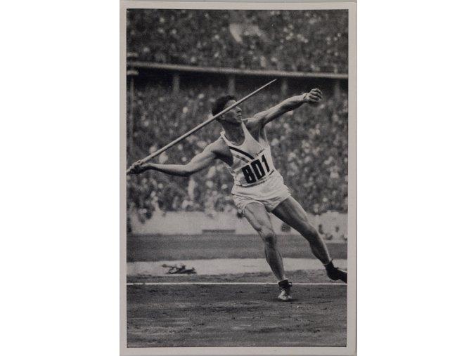 Kartička Olympia 1936, Berlin. Glenn Morris 1