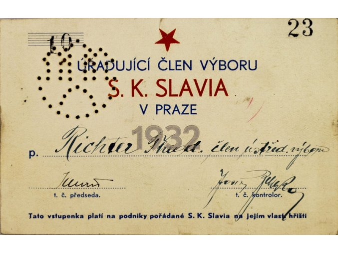 Sklenice pivní SK Slavia Praha 0,5 l, 1893 sestava 2