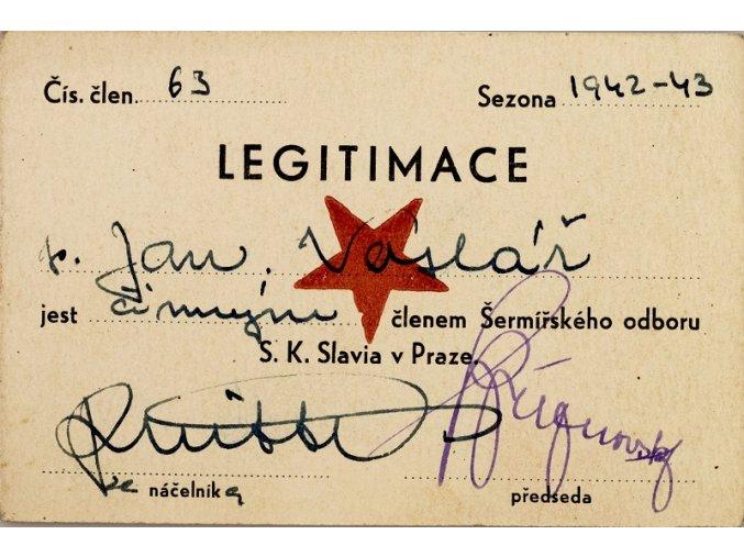 Legitimace člena šermířského odboru klubu S.K.SLAVIA PRAHA z roku 1942 43