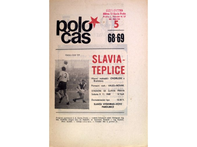 Program Slavia vs. Teplice, 1968 69