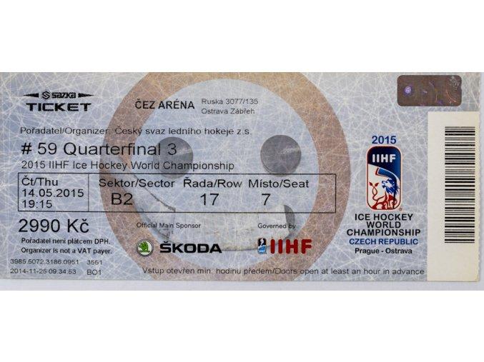 Vstupenka 2015, Prague, IIHF Ice Hockey, WCH, Quaterfinal 3, No 59