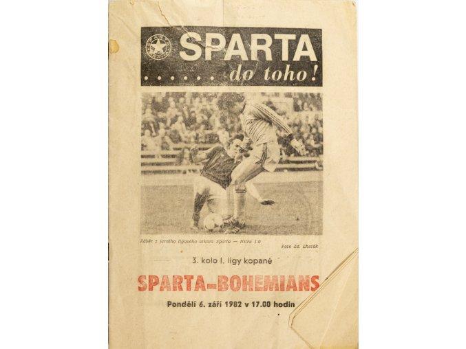 Program Sparta Praha vs. Bohemians Praha, 1982
