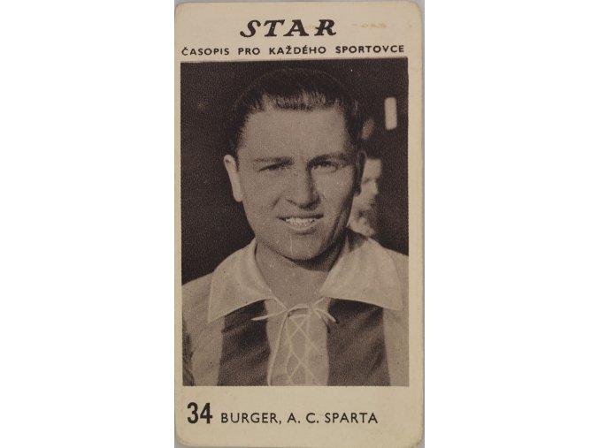 Kartička z časopisu STAR, 34 BURGER, A.C. SPARTA