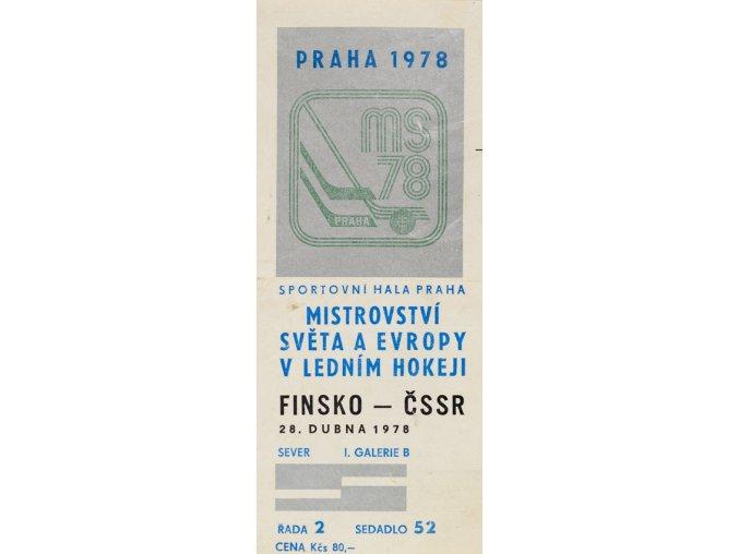 Vstupenka hokej Praha 1978 , Finsko v. ĆSSR