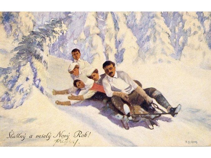 Pohlednice Sáňkaři, Šťastný a veselý Nový rok