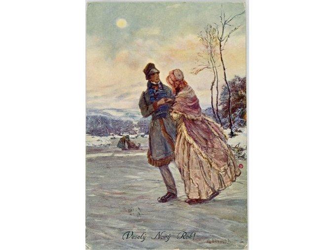Pohlednice Bruslaři, veselý Nový rok
